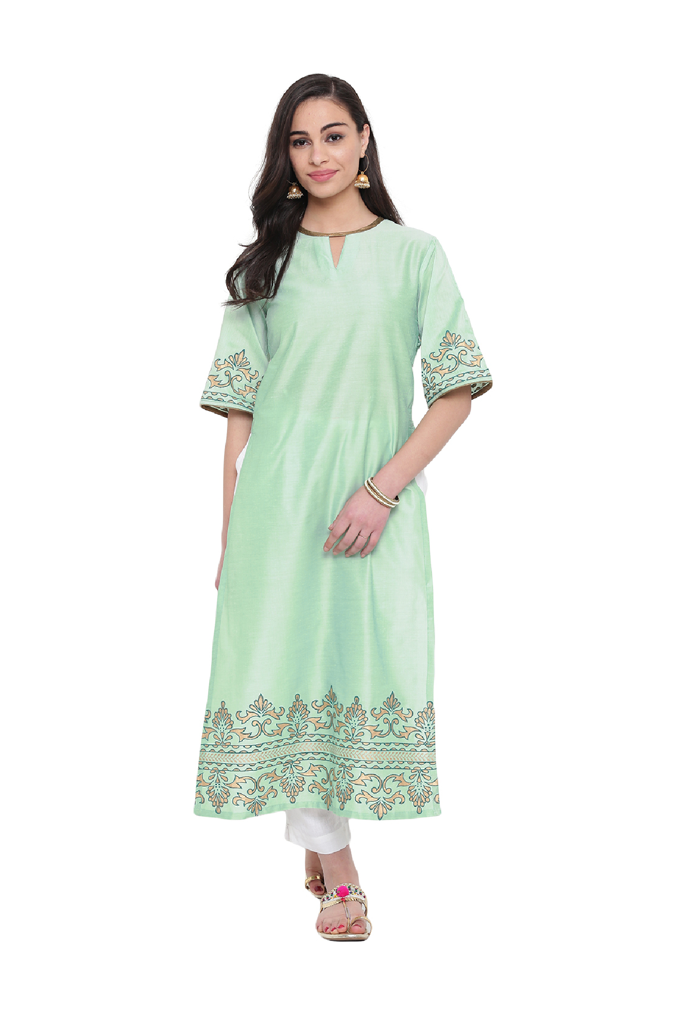 Studio Rasa Mint Printed Cotton Silk High Slits Kurta