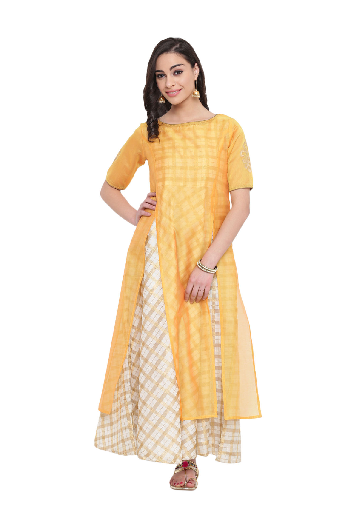 Studio Rasa Yellow Checks Chanderi Layered Kurta