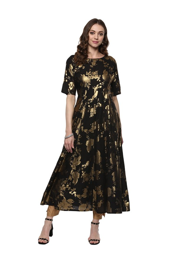 Ahalyaa Black Printed Cotton Anarkali Kurta