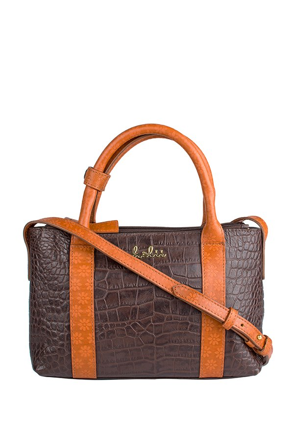 Holii Brussels 02 Dark Brown Textured Leather Handbag
