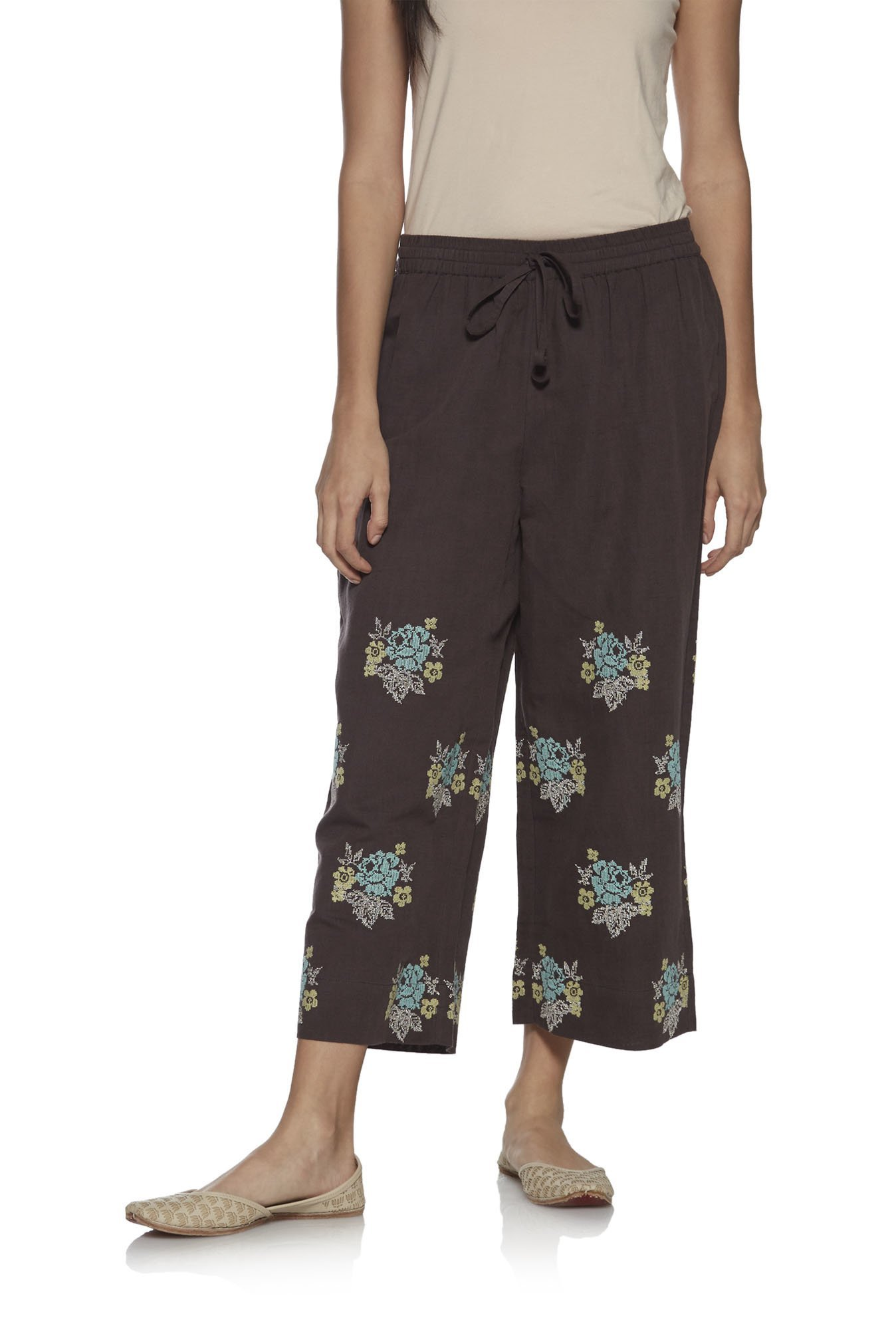 Zuba by Westside Charcoal Linen Cropped Palazzos