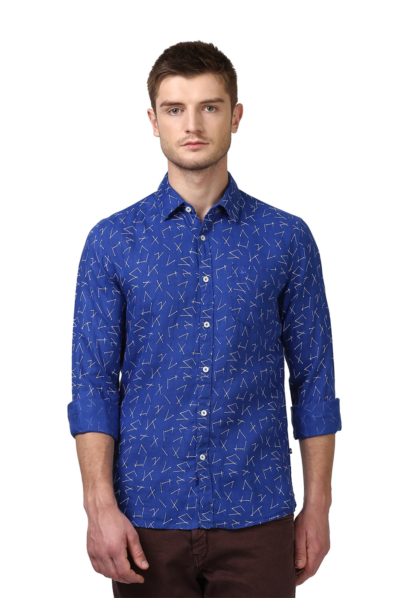 4debb120 Buy Parx Royal Blue Full Sleeves Shirt for Men Online @ Tata CLiQ