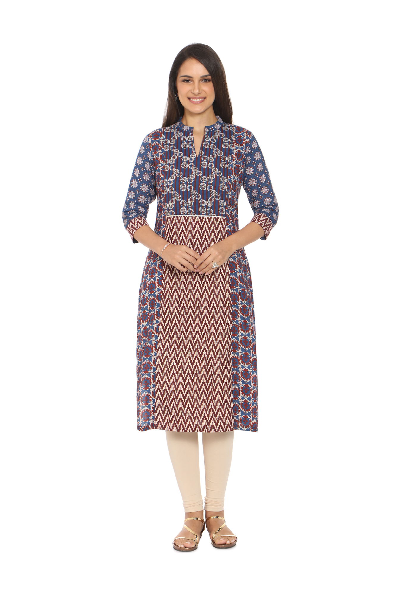 Soch Blue & Brown Printed Cotton Kurta