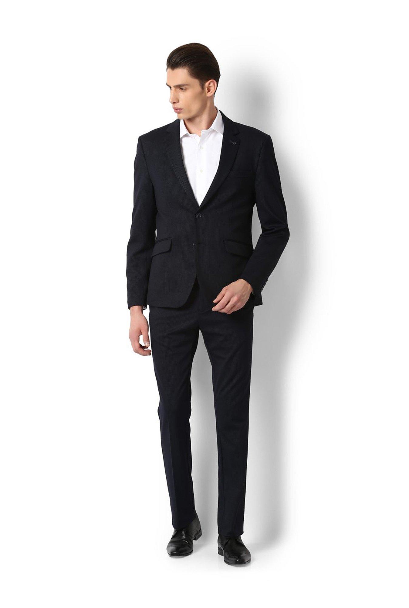 4ccac83461 Buy Van Heusen Black Flat Front Suit for Men Online   Tata CLiQ