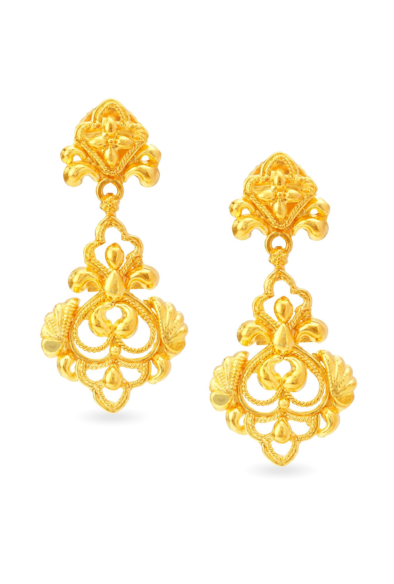 gold drop ear earrings pin and enamel drops