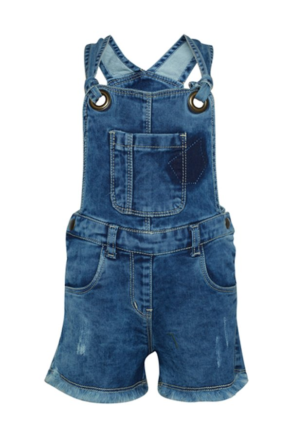 6b411cd20a5 Buy Tales   Stories Dark Blue Distressed Dungaree for Infant Girls Clothing  Online   Tata CLiQ