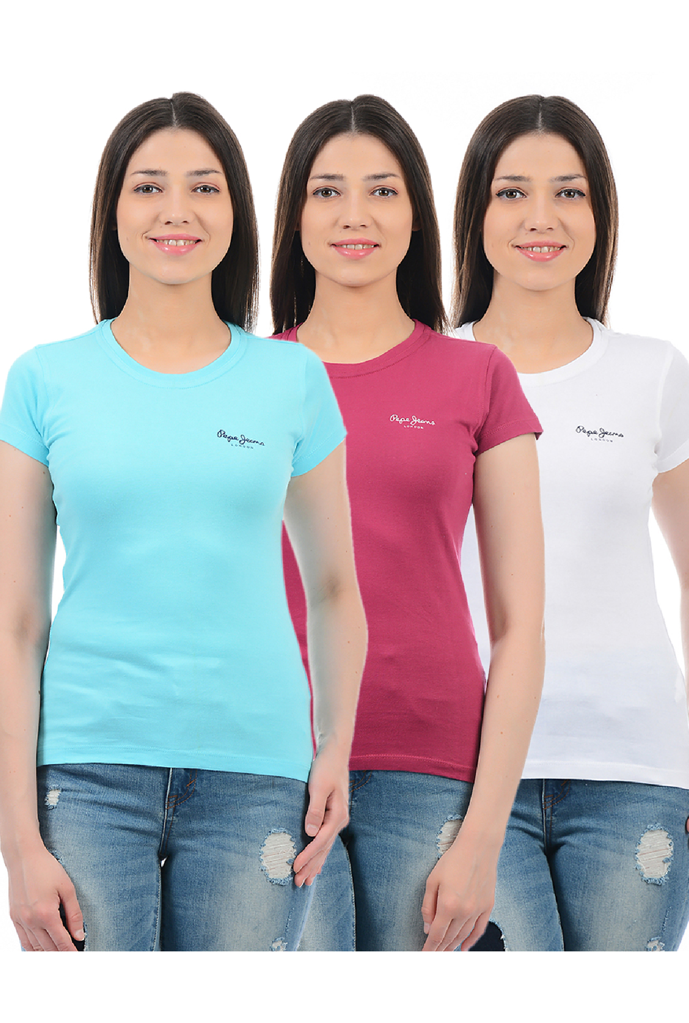 c2158ad4 Buy Pepe Jeans Aqua, Pink & White Slim Fit T-Shirt (Pack Of 3) for Women  Online @ Tata CLiQ