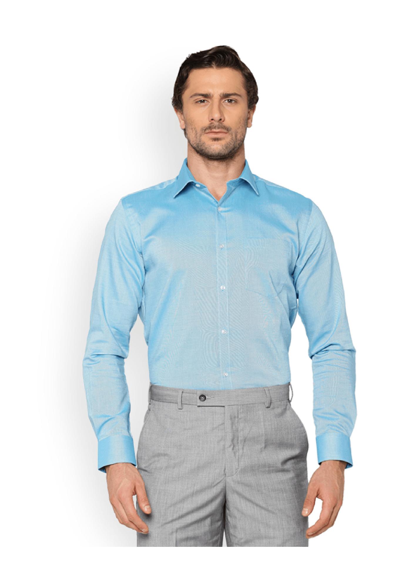 Buy Park Avenue Blue Slim Fit Cotton Shirt for Men Online   Tata CLiQ e4c694a71