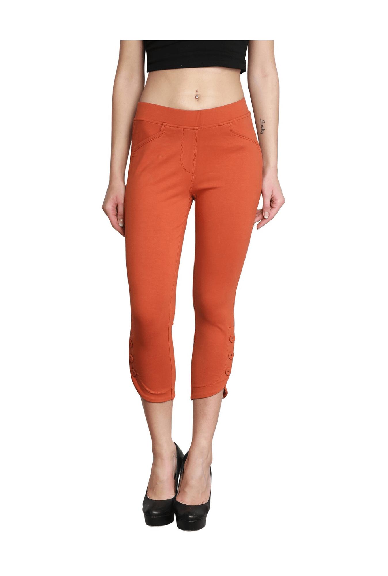 3cda3c2576c3b Buy Westwood Rust Cotton Lycra Capris for Women Online @ Tata CLiQ
