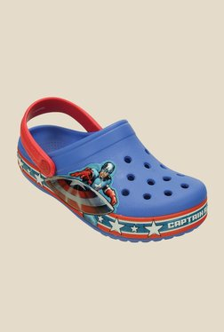 Kids Crocband Captain America Varsity Blue & Red Clogs