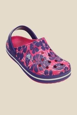 Kids Crocband Tropical Print Candy Pink & Violet Clogs