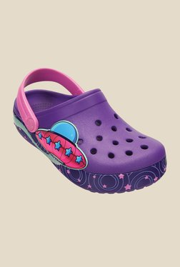 Kids Crocband Galactic Girls Neon Purple Clogs