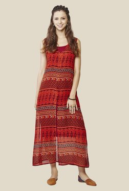 Global Desi Brown Printed Dress