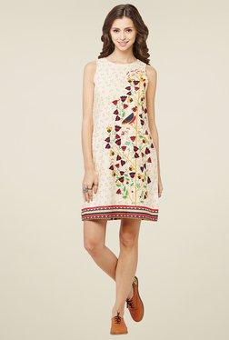 Global Desi Beige Sleeveless Shift Dress