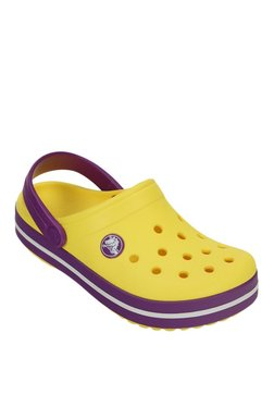 Crocs Kids Crocband Sunshine Yellow Back Strap Clogs