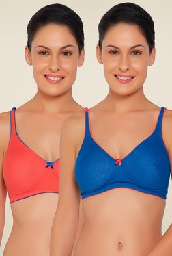 Libertina Orange & Blue Wirefree T-shirt Bra (Pack Of 2)