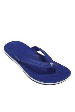 Crocs Crocband Cerulean Blue & White Thong Flip Flops