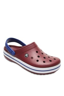 Crocs Crocband Garnet & White Back Strap Clogs