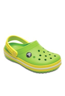 Kids Crocband Volt Green & Lemon Yellow Back Strap Clogs