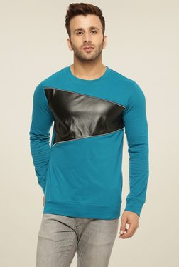 Gritstones Turquoise Cotton Round Neck T-Shirt
