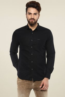 Mufti Black Full Sleeves Slim Fit Shirt
