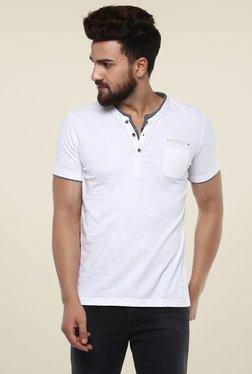 Mufti White Cotton Slim Fit Henley T-Shirt