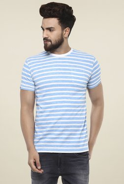 Mufti Blue & White Half Sleeves Striped T-Shirt