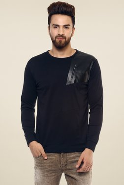 Mufti Black Round Neck Full Sleeves Cotton T-Shirt