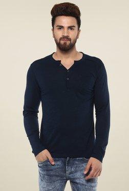Mufti Navy Slim Fit Henley T-Shirt