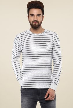 Mufti Off-White Full Sleeves Striped T-Shirt