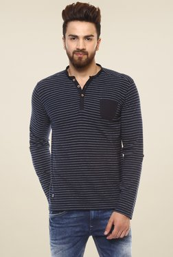 Mufti Navy Striped Full Sleeves Henley T-Shirt