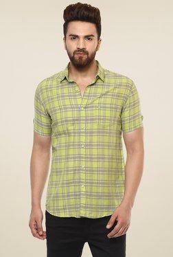 Mufti Lime Green Checks Half Sleeves Linen Shirt