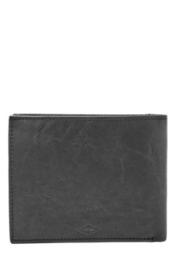c72ce4b36e353 Fossil Black Solid Leather Bi-Fold Wallet