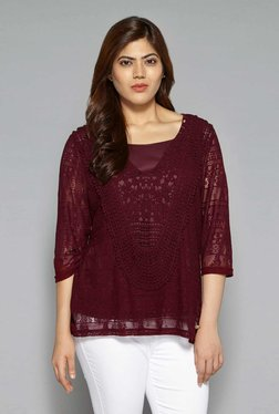 Gia By Westside Maroon Rianna Top With Camisole