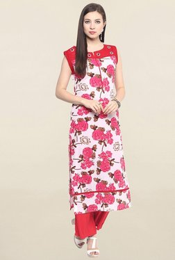 Jaipur Kurti Pink Floral Print Cotton Kurta