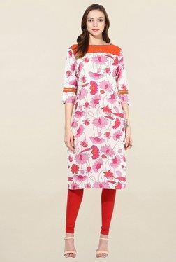 Jaipur Kurti White & Pink Floral Print Cotton Kurta
