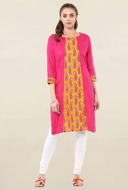 Jaipur Kurti Pink Paisley Print Cotton Kurta