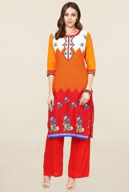 Jaipur Kurti Yellow & Red Printed Cotton Kurta