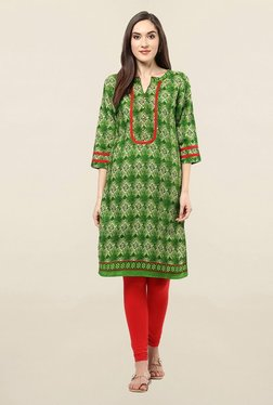 Jaipur Kurti Green Printed Cotton Kurta