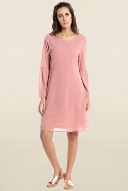 Vero Moda Pink Full Sleeves Knee Length Dress