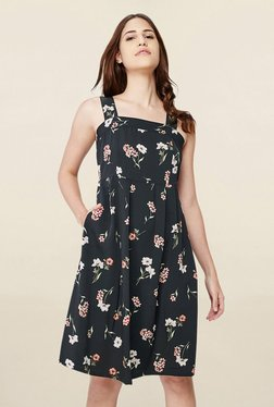 AND Black Floral Print Knee Length Dress