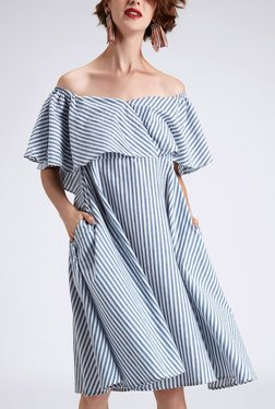 TheLabelLife Blue & White Striped Off Shoulder Dress
