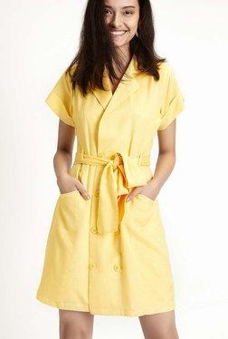 TheLabelLife Yellow Linen Shift Dress