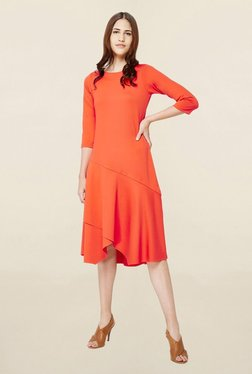 AND Orange Round Neck Midi Dress