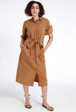 TheLabelLife Tan Midi Shirt Dress