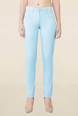 AND Blue Skinny Fit Flat Front Trousers
