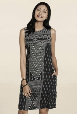 Global Desi Black Abstract Print Knee Length Dress