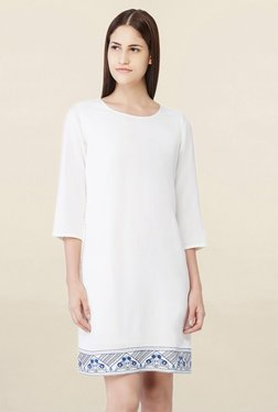 AND Off White Round Neck Above Knee Dress