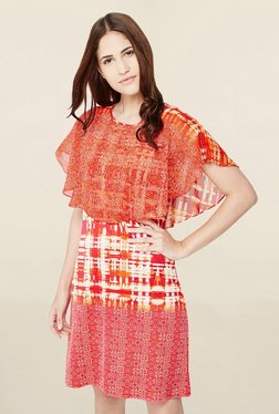 AND Orange Abstract Print Knee Length Dress