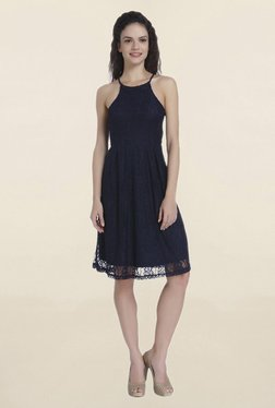 Only Navy Lace Knee Length Dress